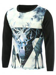 Sika Deer 3D Printed Round Neck T-Shirt