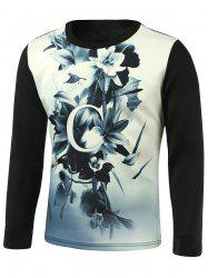 Long Sleeve Floral 3D Printed T-Shirt -