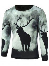 Long Sleeve Sika Deer Printed T-Shirt -