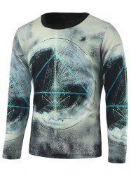 Geometric Printed Long Sleeve Galaxy T-Shirt - WHITE
