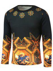 Medieval Painting Printed Long Sleeve T-Shirt - BLACK/GOLDEN 5XL