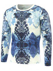 Long Sleeve Abstract Flower Printed T-Shirt - BLUE