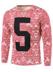 Number Pattern Abstract All Over Printed T-Shirt - RED 5XL