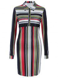 Striped Long Sleeve Shirt Shift Dress