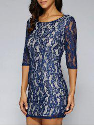 See-Through Lace Retour zippé Robe - Bleu Violet