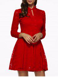 3/4 Sleeves Hollow Out Lace Dress -