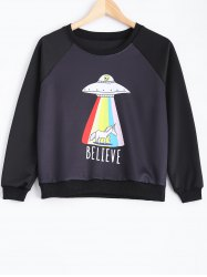 Loose Cartoon Print Pullover Sweatshirt - BLACK