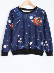 Crew Neck Galaxy Print Sweatshirt