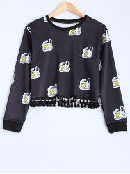 Tasseled Smile Face Print Sweatshirt