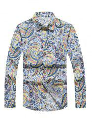Casual Paisley Printed Long Sleeve Hawaiian Shirt - YELLOW