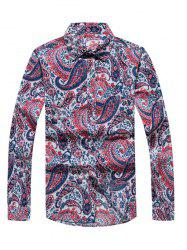 Casual Paisley Printed Long Sleeve Hawaiian Shirt - RED