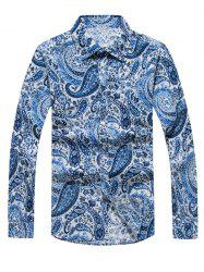 Casual Paisley Printed Long Sleeve Hawaiian Shirt - BLUE