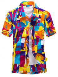 Color Block Abstract Printed Hawaiian Shirt - ORANGE