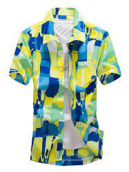 Color Block Summer Button Down Hawaiian Shirt - GREEN L