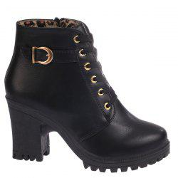 Zipper Belt Buckle Tie Up Ankle Boots - BLACK