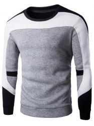 Crew Neck Color Spliced Pullover Sweatshirt - GRAY L