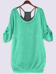 Plus Size Lace Up T-Shirt with Camisole - GREEN 4XL