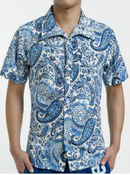 Summer Button Down Short Sleeve Paisley Hawaiian Shirt - BLUE