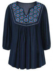Floral Embroidered Maxican Peasant Blouse - PURPLISH BLUE L