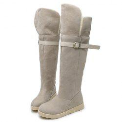 Suede Buckle Strap Flat Heel Snow Boots