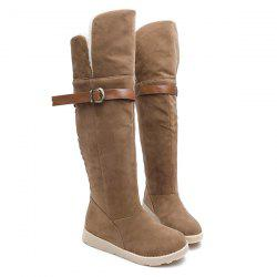 Suede Buckle Strap Flat Heel Snow Boots - BROWN
