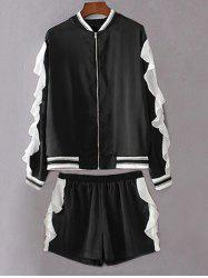 Stand Neck Flounced Jacket With Shorts Twinset - BLACK