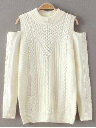 Round Neck Cold Shoulder Knitted Sweater -