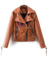 Lapel Collar Inclined Zipper Floral Patchwork Biker Jacket - BROWN