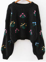 Round Neck Drop Shoulder Sleeve Floral Embroidered Sweater