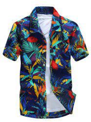 All Over Leaves Print Casual Hawaiian Shirt - BLUE