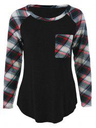Single Pocket Plaid Full Sleeve T-Shirt - BLACK M
