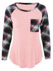 Single Pocket Plaid Full Sleeve T-Shirt - SHALLOW PINK XL