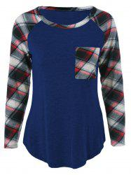 Single Pocket Plaid Sleeve T-Shirt - DEEP BLUE XL