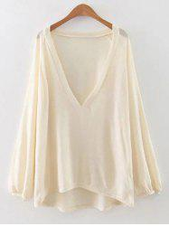 Plunging Neck Lantern Sleeve T-Shirt -