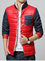 Stand Collar Color Block Splicing Fleece Padded Jacket - RED M
