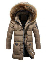 Hooded Faux Fur Lengthen Pockets Design Down Coat -