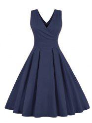 Retro Back Bowtie Sleeveless Tea Length Skater Dress - PURPLISH BLUE