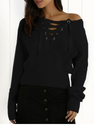 Lace Up Jumper - BLACK