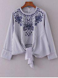 Round Neck Embroidered Striped Blouse -