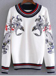 Round Neck Fish Embroidered Sweater