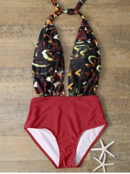 Low Cut One Piece Graphic Swimsuit