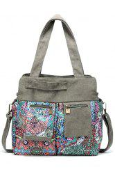 Tribal Print Zip Pockets Shoulder Bag