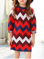 Crew Neck Chevron Striped Knitted Dress -