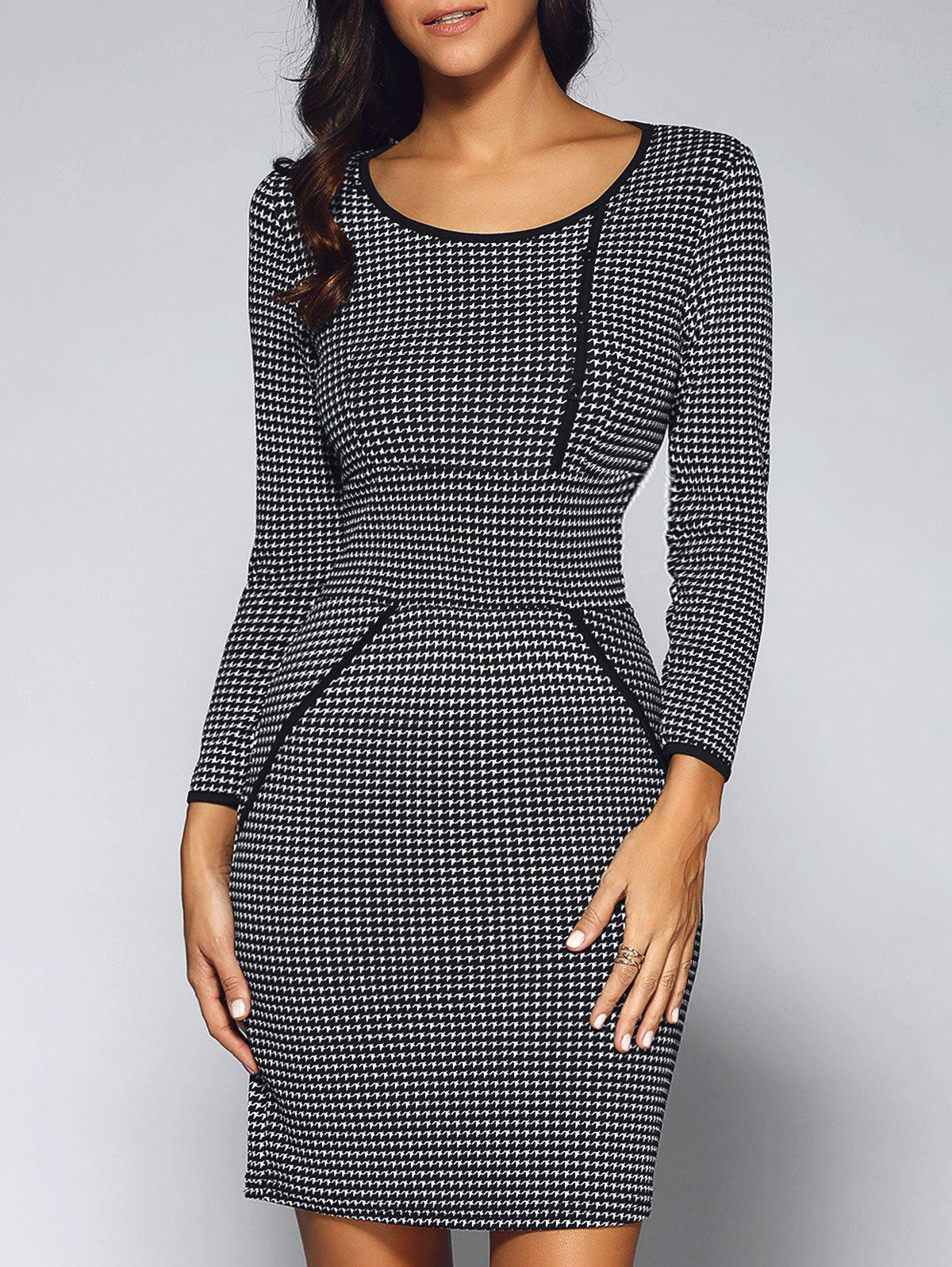Houndstooth Long Sleeve Sheath Work Business DressWOMEN<br><br>Size: S; Color: BLACK; Style: Work; Material: Polyester; Silhouette: Sheath; Dresses Length: Mini; Neckline: Scoop Neck; Sleeve Length: Long Sleeves; Embellishment: Button; Pattern Type: Others; With Belt: No; Season: Fall,Spring; Weight: 0.257kg; Package Contents: 1 x Dress;