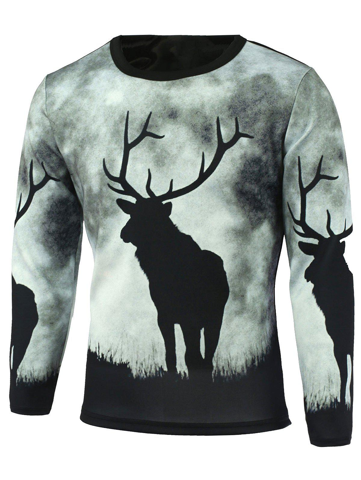 Sale Long Sleeve Sika Deer Printed T-Shirt