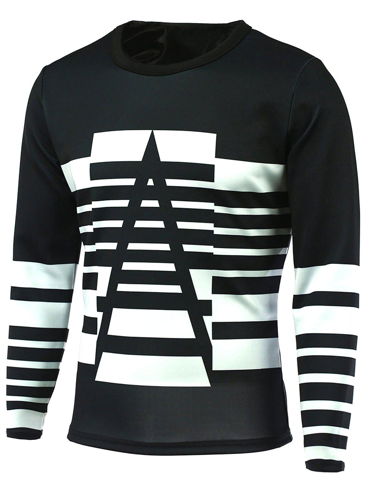 Sleeve Striped col rond manches longues T-shirt