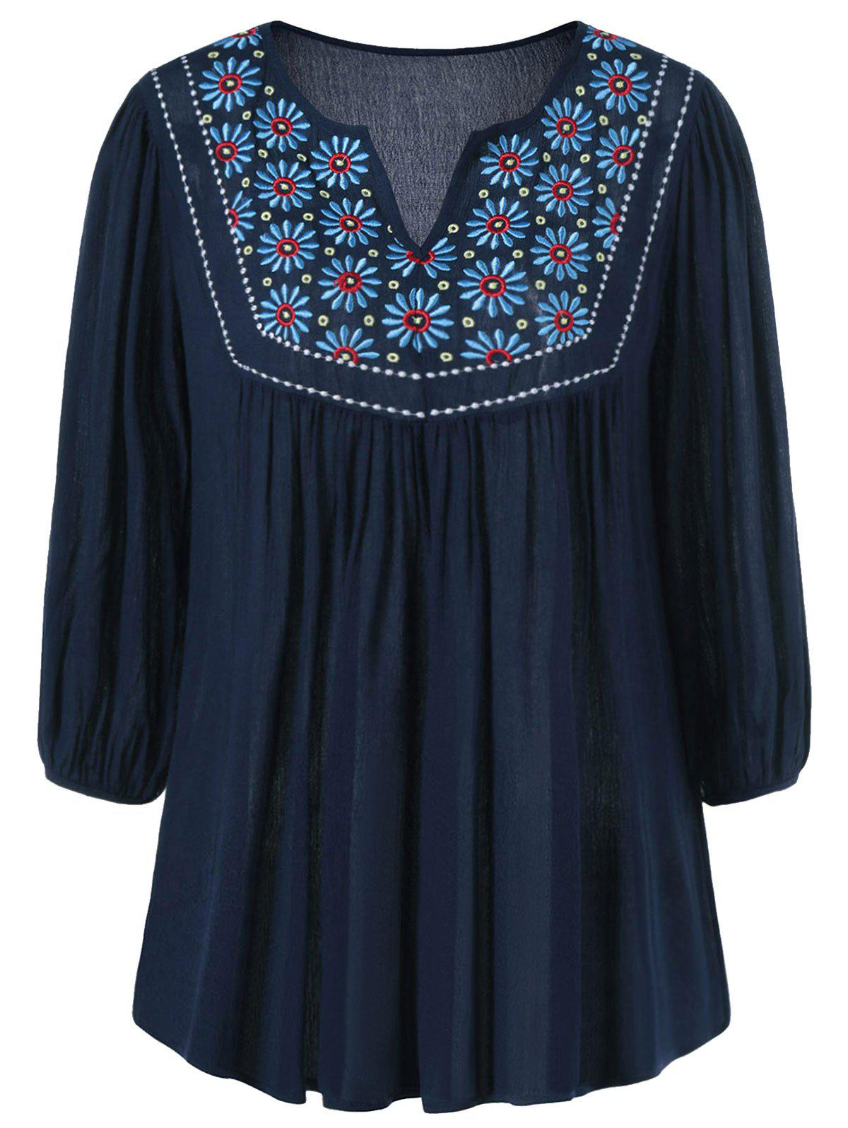 Cheap Floral Embroidered Maxican Peasant Blouse