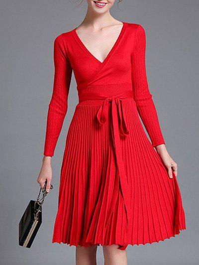 Best Belted Knit Surplice Dress