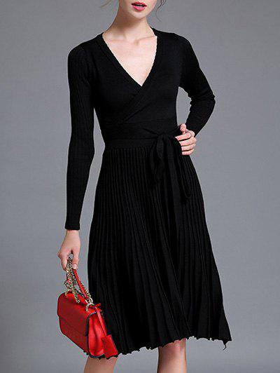 Cheap Belted Knit Surplice Dress