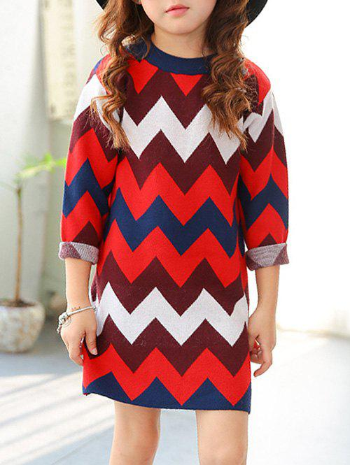 Latest Crew Neck Chevron Striped Knitted Dress